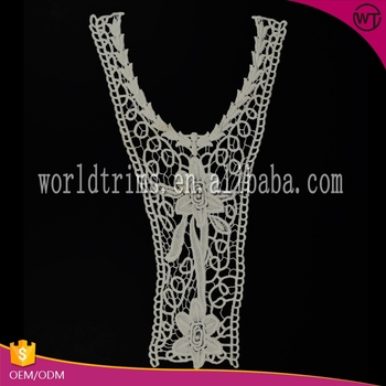 V Neck Flowers Fashion White Collar Lace Hand Embroidery Designs For