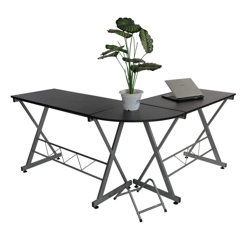 L-shape Concise Corner Home Office Corner Computer Desk Laptop PC Table X Shape Steel Frame Table Wooden Desktop Black
