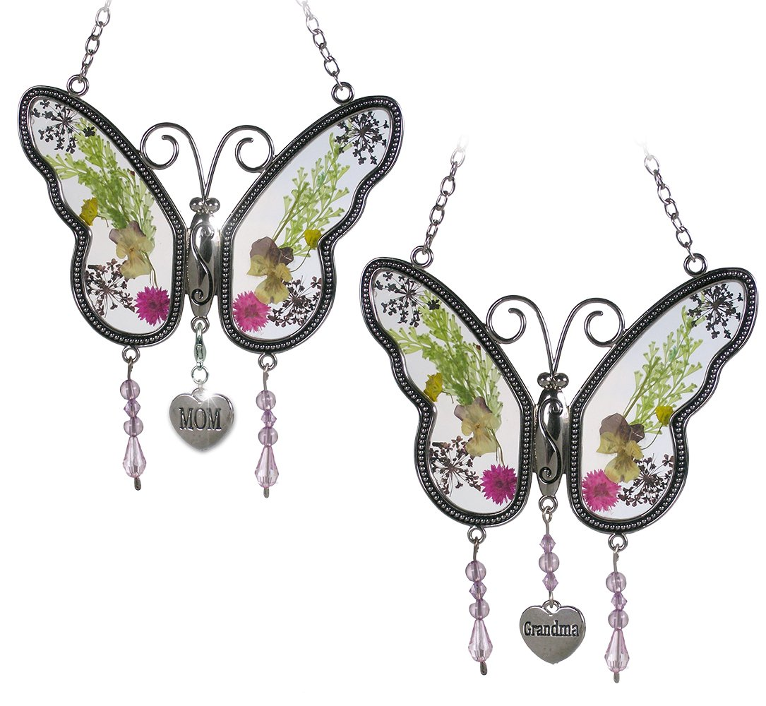 BANBERRY DESIGNS Mom Butterfly Suncatcher - Grandma Butterfly Suncatcher - Set of 2 - Pressed Flower Sun Catcher Each One Has an Engraved Silver Heart Charm