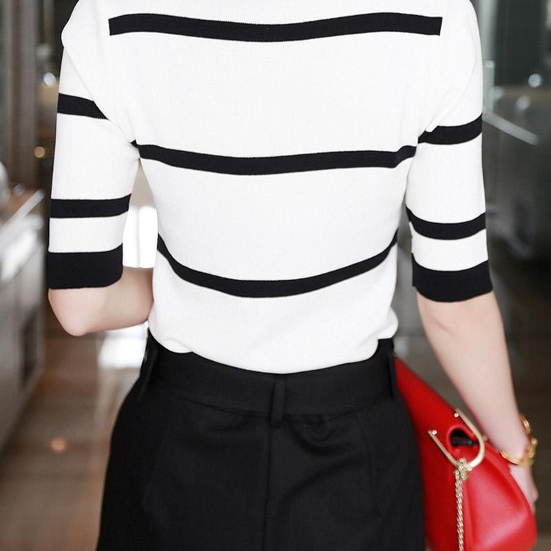 Лето женщины в свободного покроя полоска вязание топы рубашки T рубашка женщины одежда zE3441