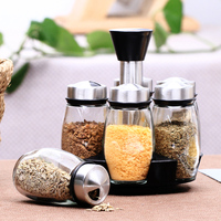 China supplier lead-free glass spice cruet glass jars spice rack set