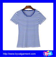 OEM clothes custom yarn dyed cotton t-shirt ladies short sleeve stripe t shirt