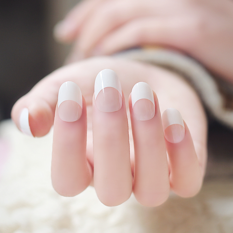 round french white color false nails kit with glue nude. Black Bedroom Furniture Sets. Home Design Ideas