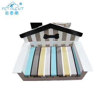 Wholesale custom handmade standard soft stylish dog beds with pet bowls