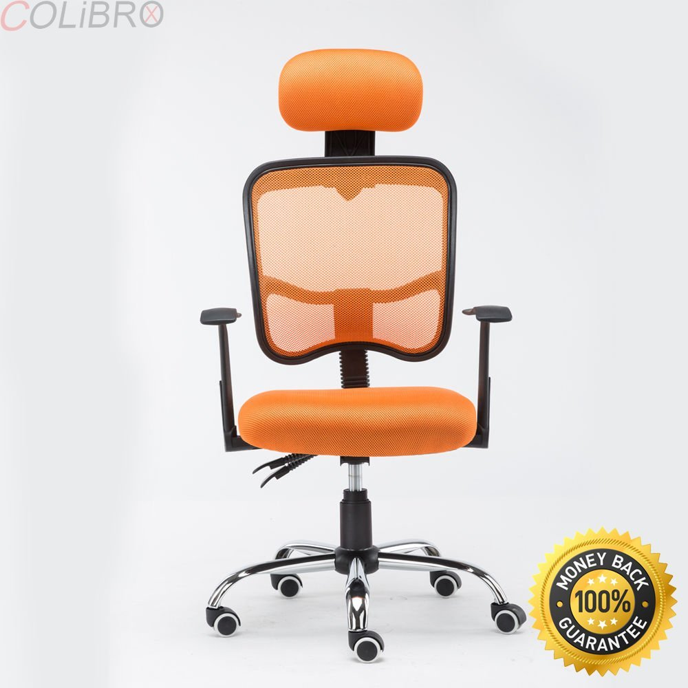 COLIBROX--New Ergonomic Mesh Computer Office Desk chair High Back With Headrest Orange. Computer Chair Task Desk Chair with Headrest and Lumbar Support Pillow, Height Adjustable Black Orange.