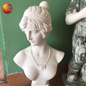 Hand carved stone man head white marble bust statue for sale