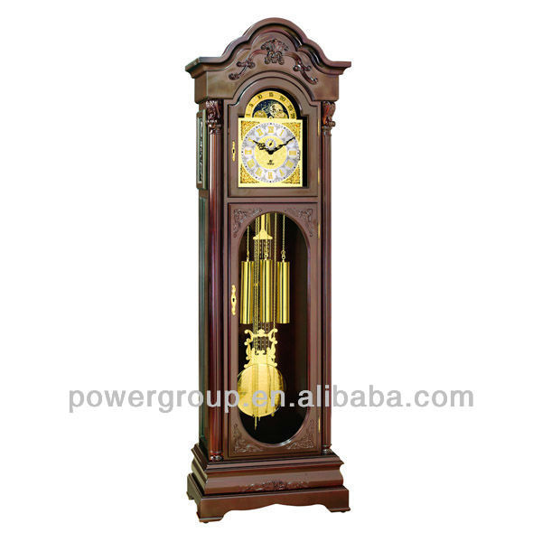Deep wood color grandfather clock Golden&square clock face German made Hermle movement Good price MG2531MA