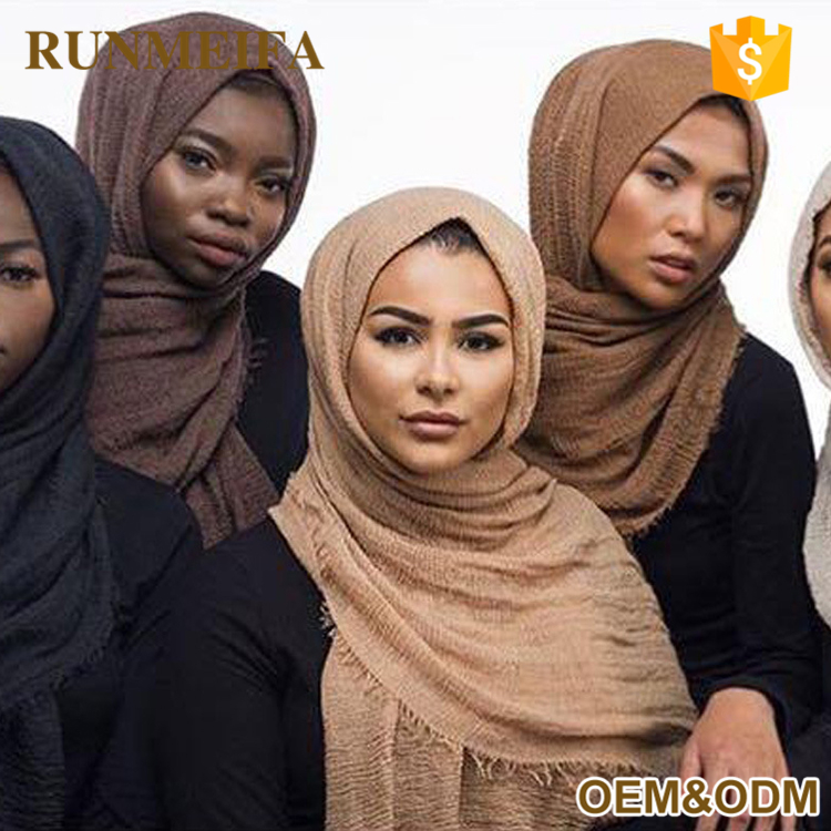Top Selling Fashion Muslim Women Hijab Crinkle Cotton Hijab