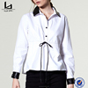 Ladies fashion clothing online shopping leather collar long sleeve women blouse with waist string