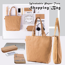 New Unique Design Recycle Washable Kraft Paper Travel Storage Bag With Handles & Zipper