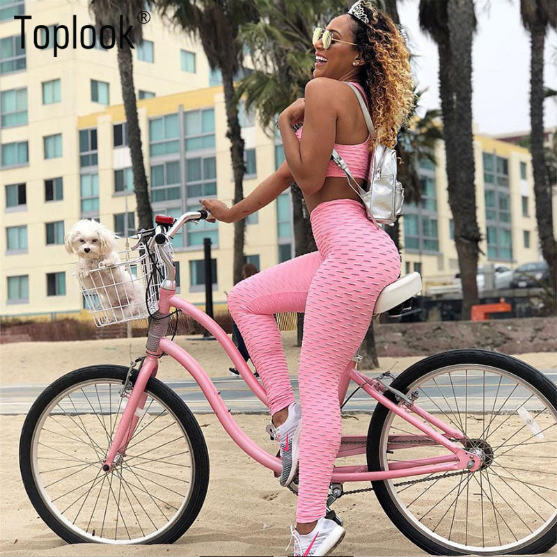 Toplook Jacquard Breathable Sports Bra Tights Woman Leggings Sports Plain Colorful Yoga Set Fitness wear S189