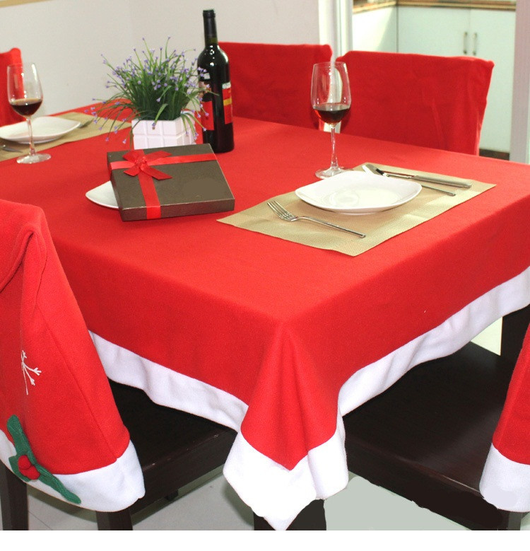 Custom Xmas Decration Red 132*208mm Nonwoven Christmas table cover
