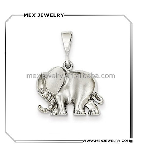 925 sterling silver Womens 14K White Gold animal theme Elephant Charm Pendant jewelry