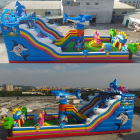 Customized 15L*7W m giant inflatable fun city,inflatable bounce amusement park with slide for kids