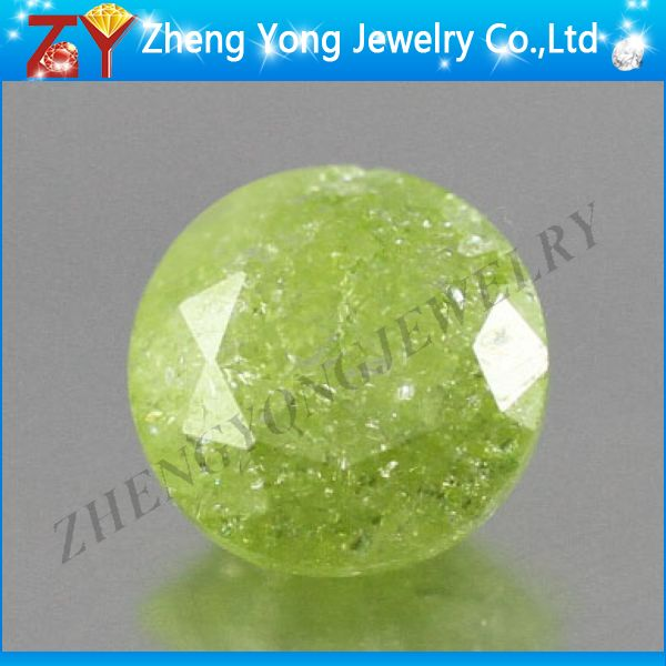 Hot sale round faceted cut apple green ice cubic zirconia stone jewelry