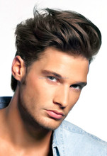 Natural Looking Fashion Handsome Men Curly Wig, Full Lace Human Hair Short Men Wigs