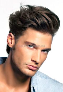 Natürlich Aussehende Mode Schöne Männer Lockenperückevolle Spitze