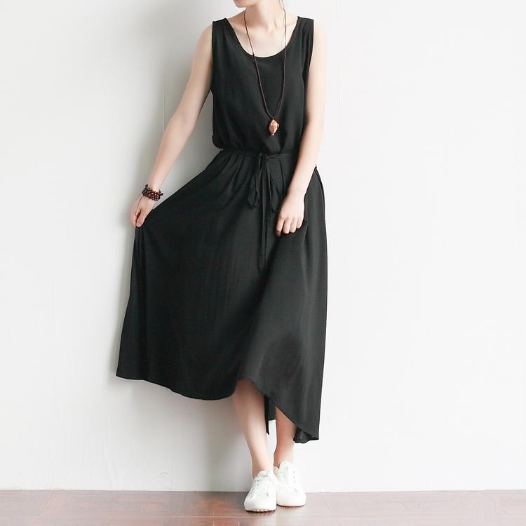 f55b00dc806 Get Quotations · 2015 New Women Summer Casual Vest Dresses Black Rayon Slit  Tank Sleeveless Mori girl vintage art