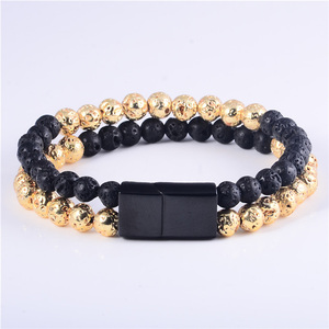 2019 Fashion Wholesale Mens Elastic Stretch Bead Beaded Bracelet