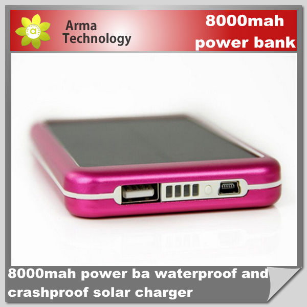 Mobile Phone Battery Extend Mobile Power Bank 8000mAh Solar Charger for Samsung iPhone iPad iPod