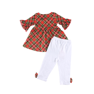 Plaid printed 3/4 bell sleeves tunic dressy top and white long pants girl sets with bow