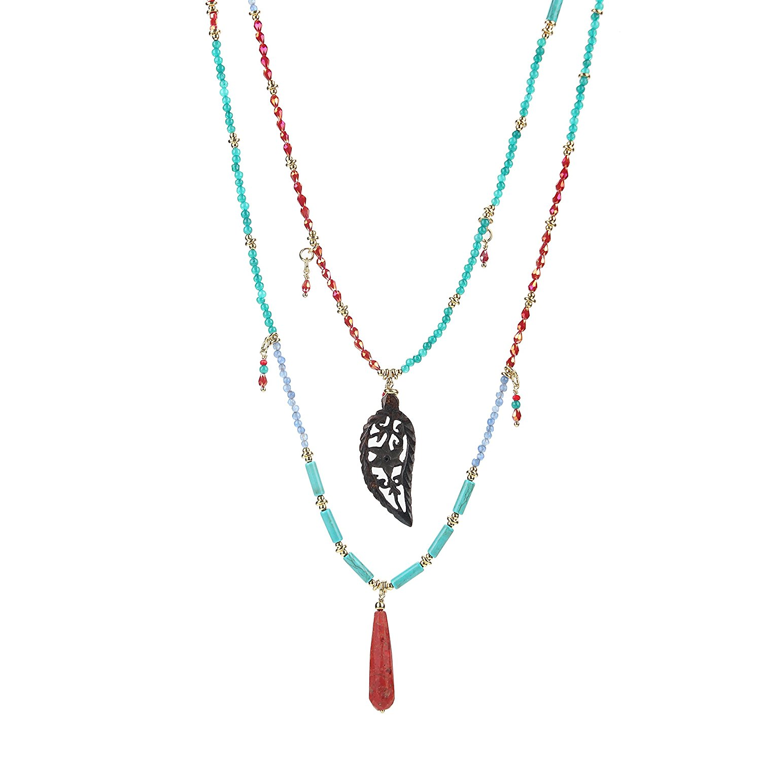 tom+alice Handmade Semi Gemstone Beads Necklace Two Strands Multipurpose Detachable Necklace for Women
