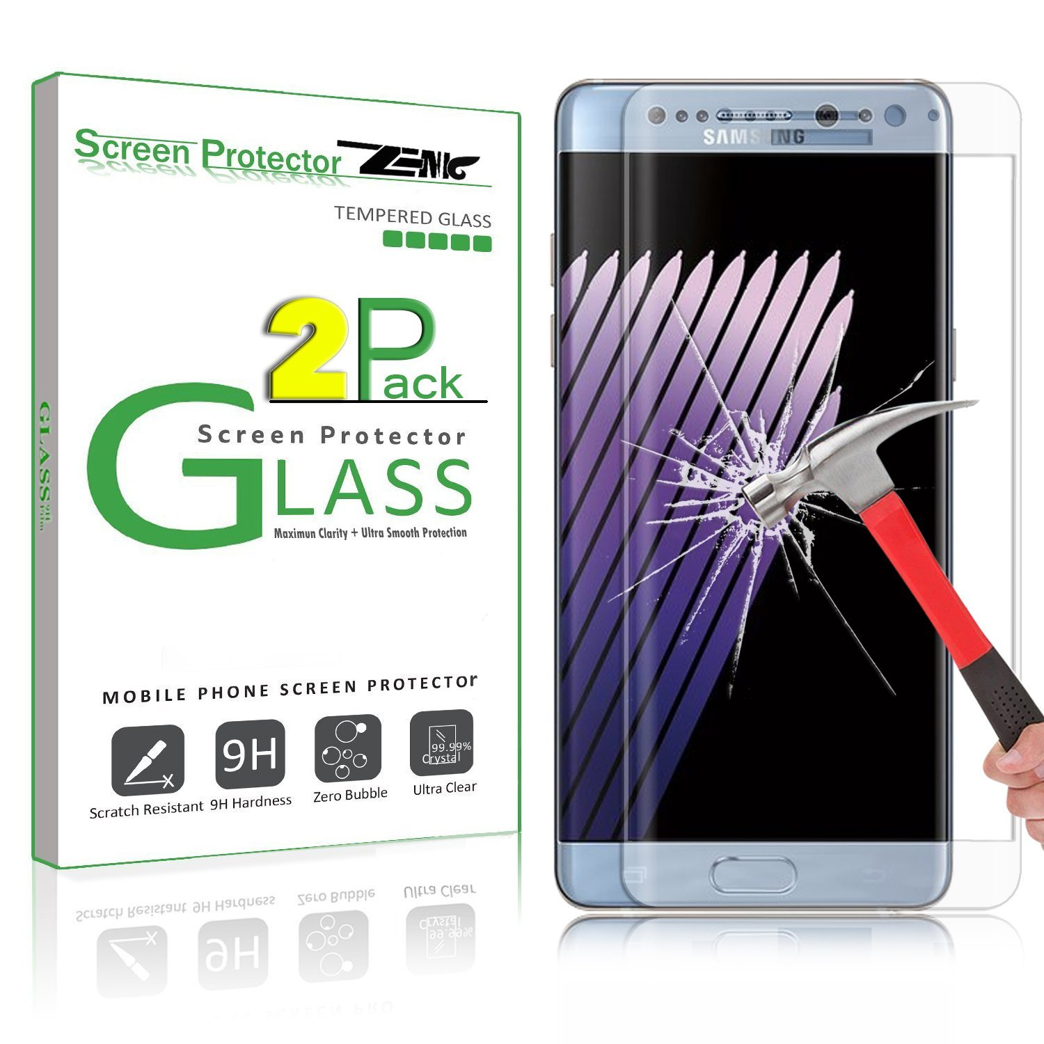 [2 Pack] Note 7 Screen Protector, Zenic(TM) 9H Hardness 5.7'' Curved 3D Full Cover Tempered Glass Screen Protector [Edge to Edge] [Upgraded version]