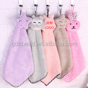New Cute Baby Hand Towel Soft Children's Cartoon Animal Hanging Wipe Bath Face Towel Bathing Accessories