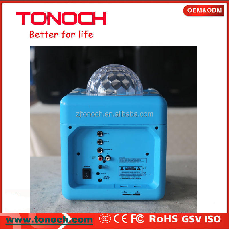 Plastic Cabinet Portable Mini Speaker with Disco Light