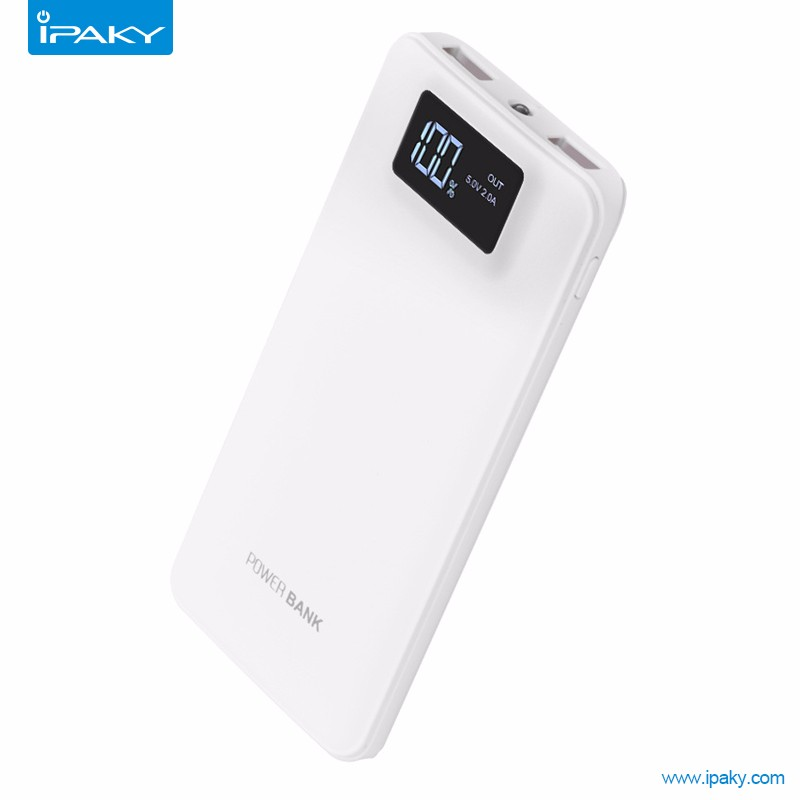 Wholesale White ipaky LCD Power Bank 10000mah for mobile phone tablet pc
