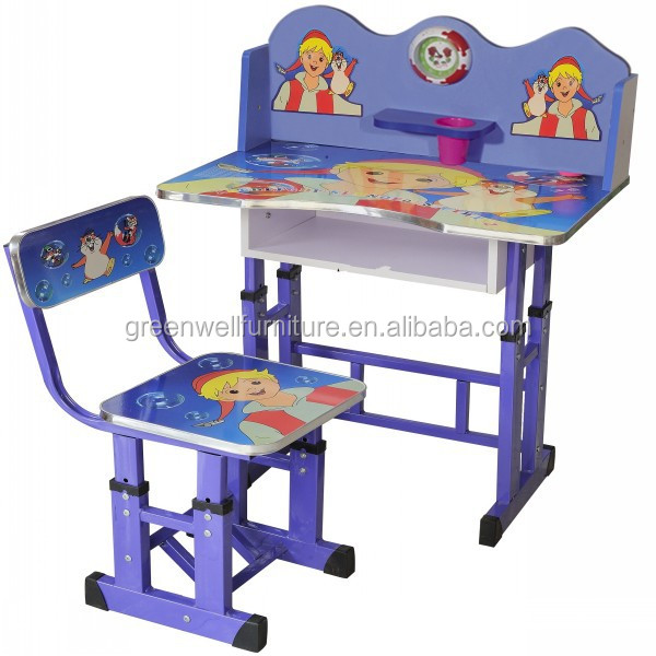 Wooden Kids Study Table And Chair Set For Kindergarten