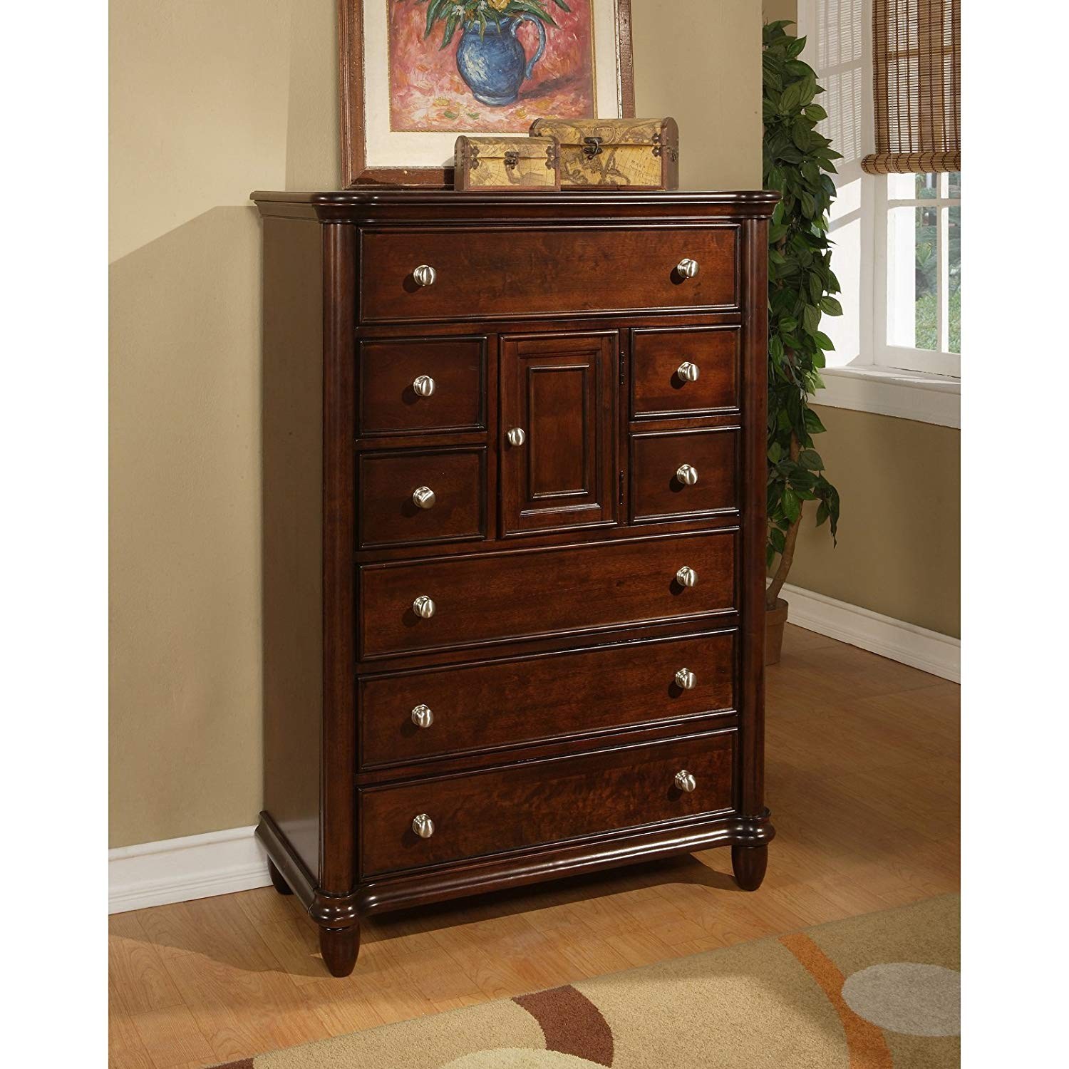 8 Drawer 1-Door Chest, 4 Large Drawers and 4 Smaller Accessory Drawers, Top Drawer is Felt-Lined, Solid, Sturdy and Long-Lasting Poplar Construction, Beveled Crown, Warm Brown Cherry