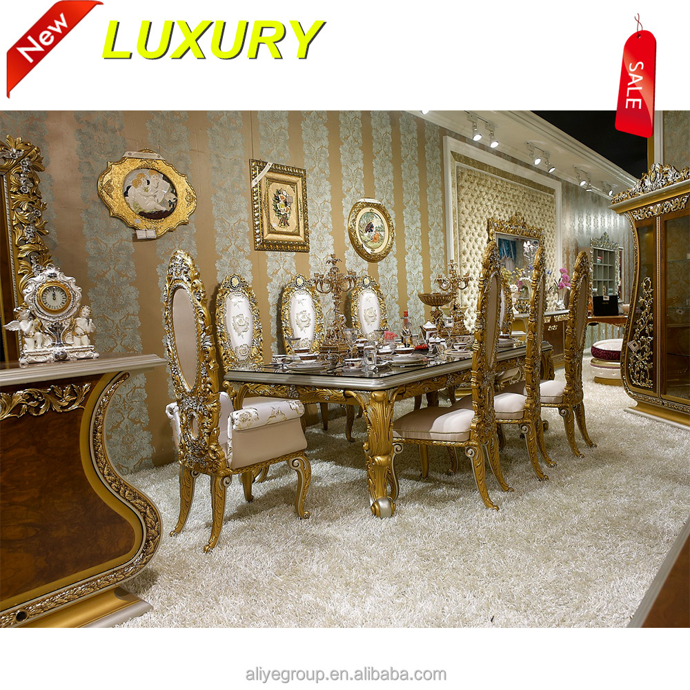 Aa66500 Luxury Furniture Wooden Heavy Duty Dining Table And Chairs Set Of High Quality 6 Chair Carved