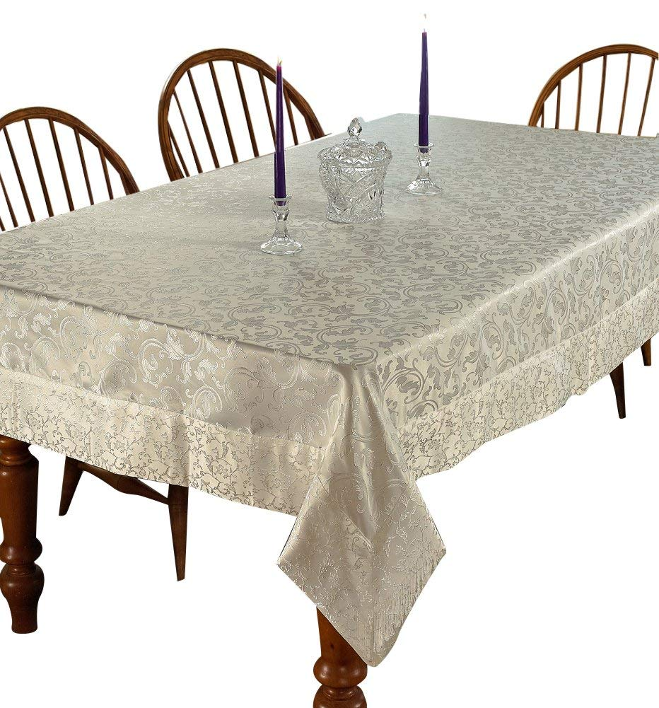 "Violet Linen Princess Damask Vintage Design Oblong/Rectangle Tablecloth, 54"" x 72"", Cream"
