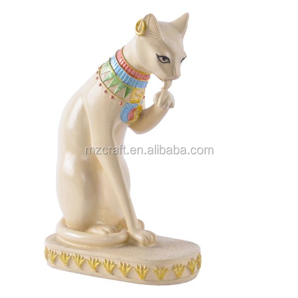 Résine Sable Pierre Lait Blanc Egypte Style Statue De Chat Pour La ...