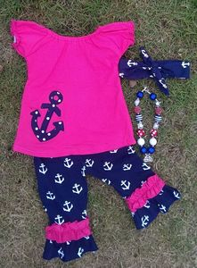 2015 hot sell spring cotton hot pink capri set ruffle boutique clothes anchor girls outfit with matching headband and necklace