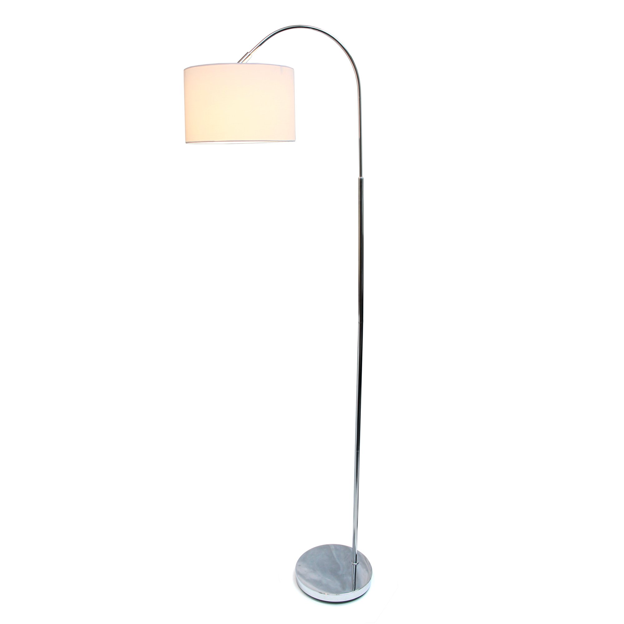 Simple Designs Home LF2005-WHT Simple Designs Arched Brushed Nickel Floor Lamp, White Shade Brushed Nickel Arched Floor Lamp, White Shade