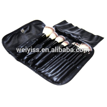 Cosmetic brush set bag , deluxe leather cosmetic pouch, wholesale cosmetic pouch bag