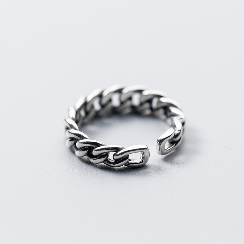 Fashion Jewelry Resizable Hollow Out Twist Knitting 925 Sterling Silver Ring For Women Girls