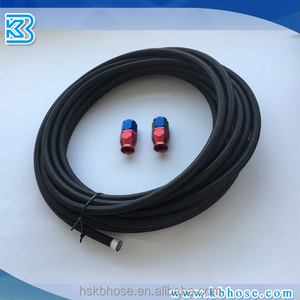AN8 -8AN AN-8 3/8inch 10mm Stainless Steel Black Nylon Braided PTFE Teflon Lined Stainless Steel Hose For Fuel Oil E85