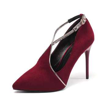 d695dbd1086 suede pointed toe 10cm stiletto heels pumps women buckle strap high heel  shoes, View strap high heel shoes , Customer's Brand Product Details from  ...