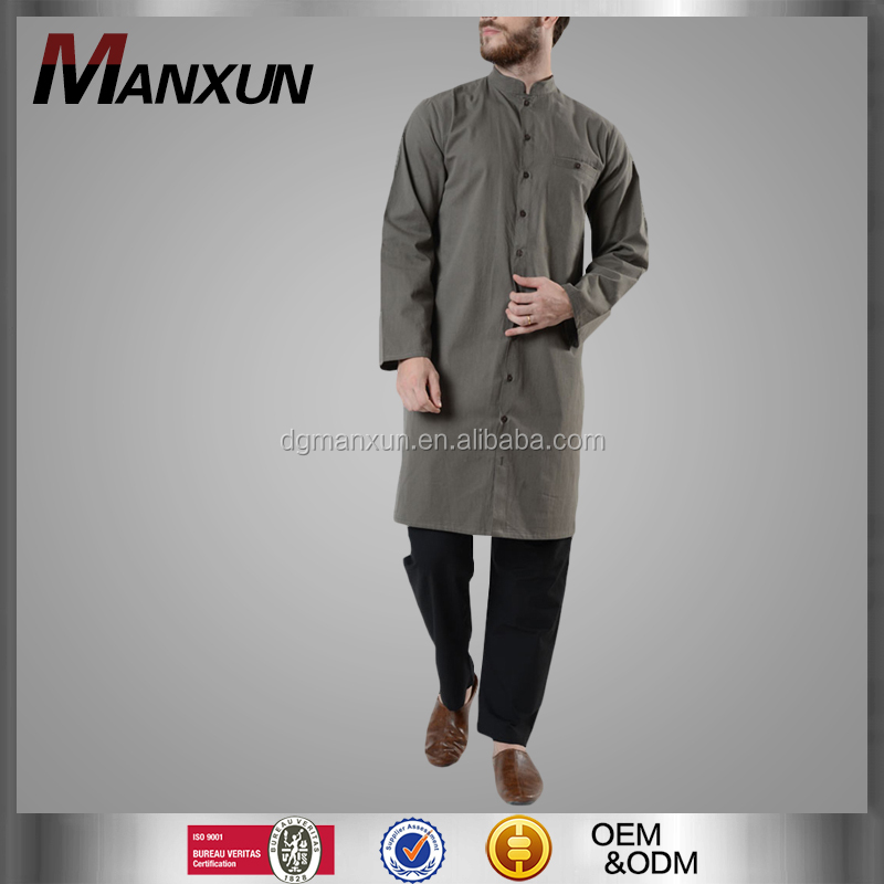 Wholesale long buttons kurta in malaysia islamic men tops muslilm abaya for male