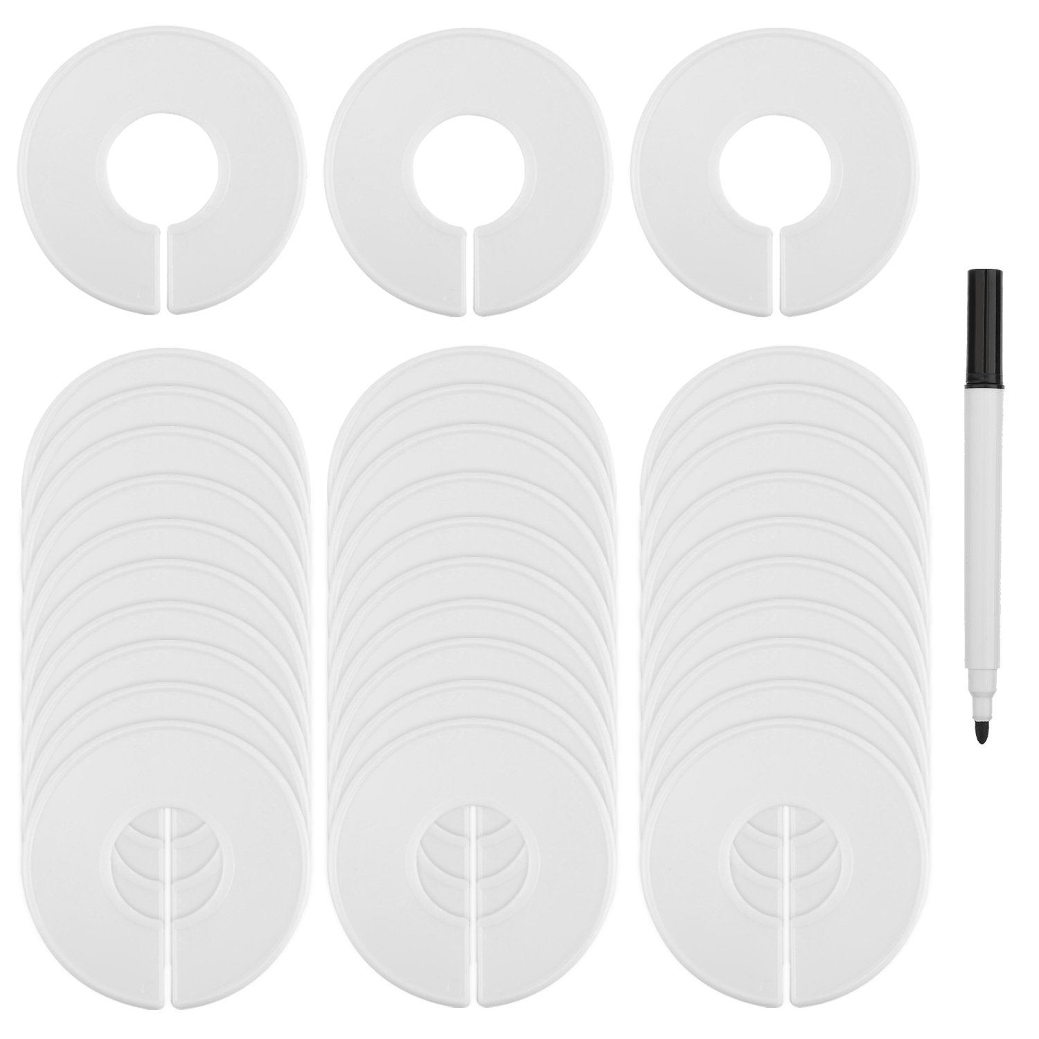 Blulu Size Clothing Dividers Rack Dividers Round Hangers Closet Dividers 30 Pack with Marker Pen