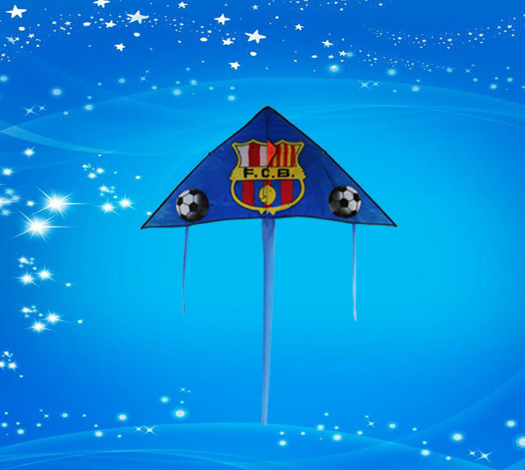 cheap promotional gift print logo football club Barcelona Real Madrid logo advertising kite
