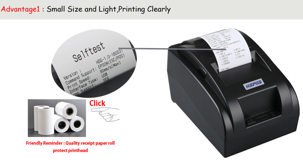 usb 58POS invoice Bill thermal receipt printer with 90mm printing speed with cash drawer port
