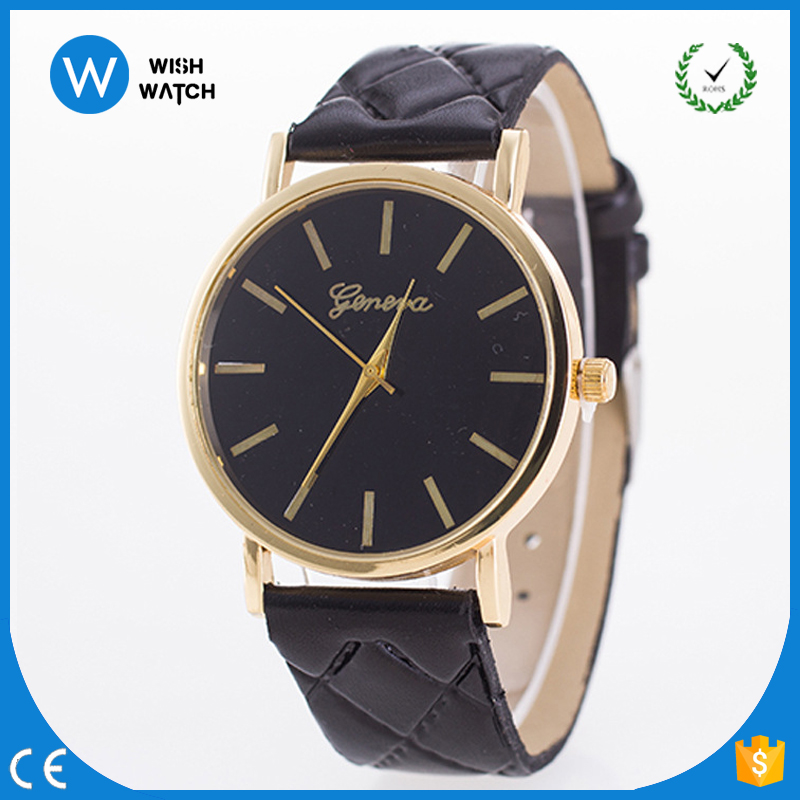 5122 Hot Selling Geneva Brand Diamond Leather Band Watches Cool Gold Plated <strong>Points</strong> and Watch Case Quartz Hours
