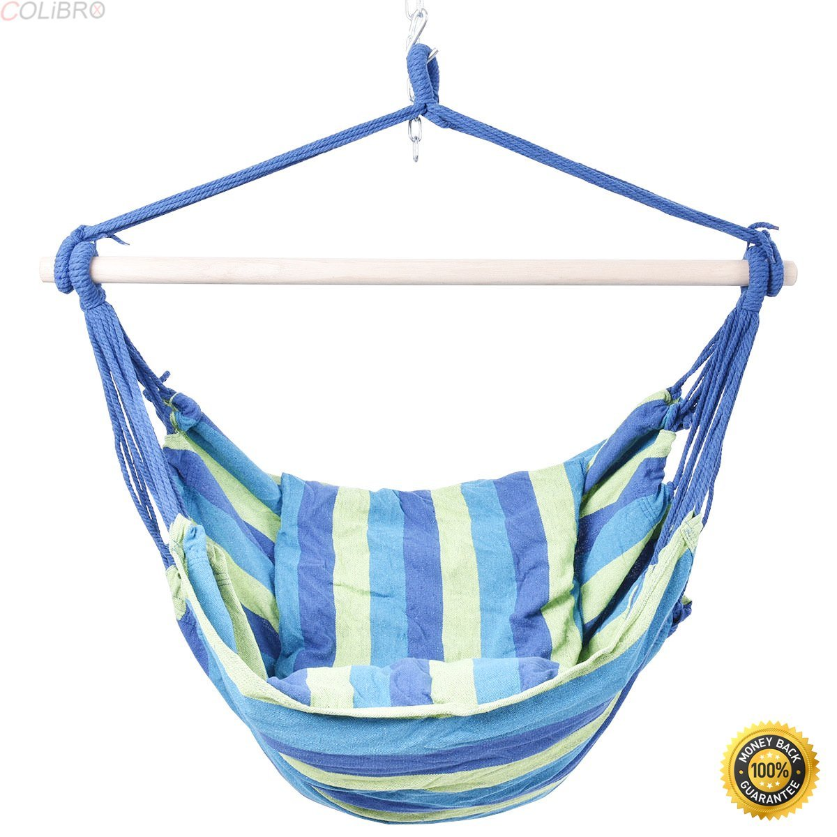 COLIBROX--2PCS Blue &Green Deluxe Hammock Rope Chair Porch Yard Tree Hanging Air Swing,Swing Loveseat Hammock,swing chair outdoor,hammock swing chair,lowes porch swing,portable folding hammock