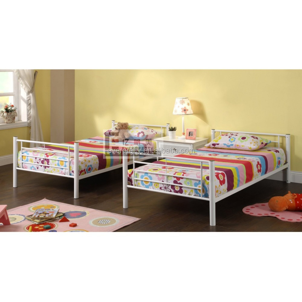 Strong children bedroom furniture single seeel bed designs, boy girl tall metal single bed