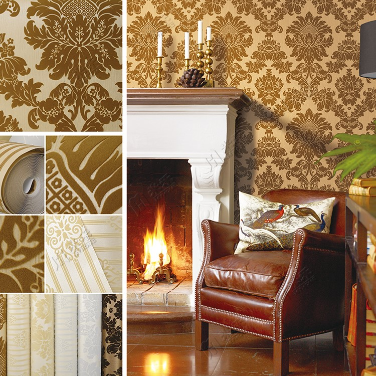 Modern design luxury vinyl flocking wallpaper