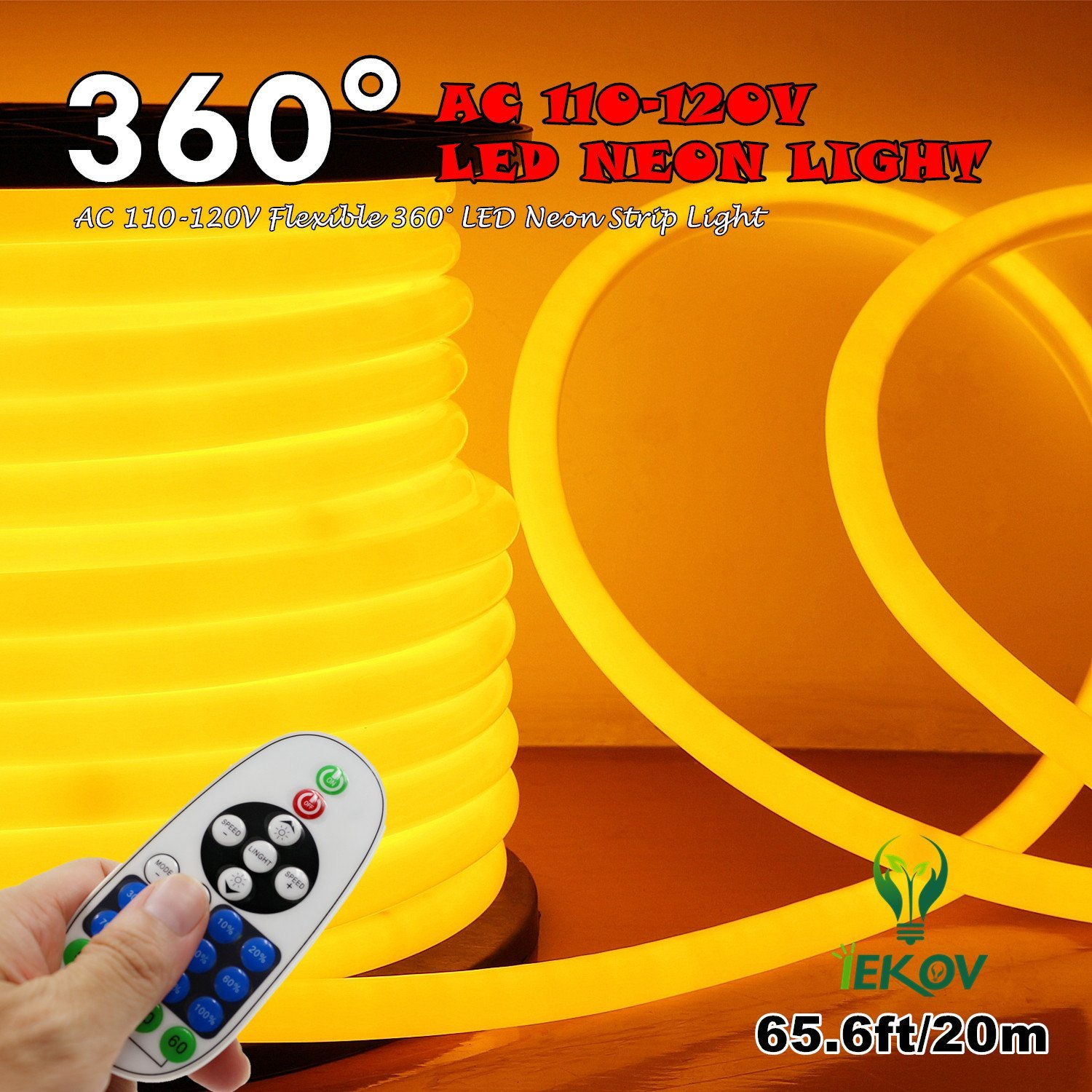 [UPGRADE] 360° LED NEON LIGHT, IEKOV™ AC 110-120V Flexible 360 Degree LED Neon Strip Light, Dimmable & Waterproof NEON LED Rope Light+Remote Controller (65.6ft/20m, Golden Yellow)